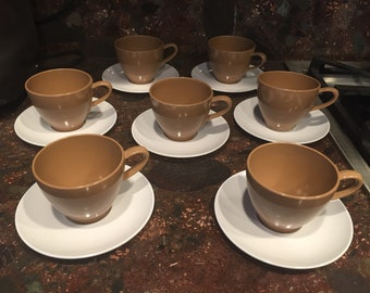 Lucky 7 PROLON MELBAC brown coffee cups and white saucers