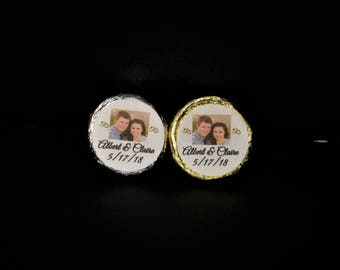 Your Own Photo Custom Made Wedding/Engagement/Anniversary/Candy Kiss Hershey Nugget/ Bubble Favor Labels@Just Peel & Stick
