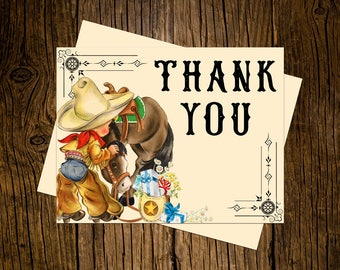 Western Thank You Note Cards Custom Printed Handmade Stationery Set of 12 Vintage Ecru Brown Rustic Cowboy Pony Horse