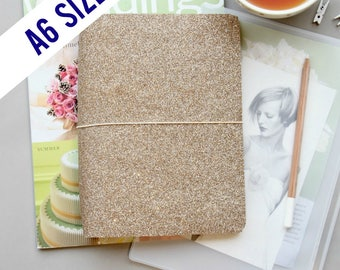 A6 Traveler's Notebook Cover in Rose Gold, A6 Planner Cover, A6 Journal Cover for A6 Inserts. Reversible Metallic Lining, Quad Binding.