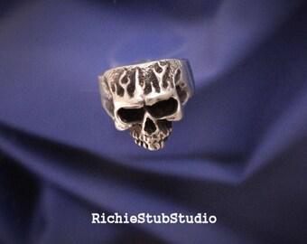 Flaming Skull Ring Sterling Silver Nasty Hot Design