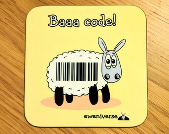Baaa code!, Funny punny sheep coaster, funny mat, Sheep gifts, cute drinks mat, fun homeware, Cute coasters, Colourful homeware, Bar Code