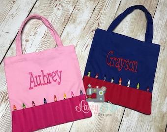 Monogrammed Busy Bag, Travel Bag, Crayon Bag, Church Bag, monogrammed kids tote bag