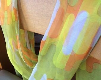 Vintage 1960s 70s orange green scarf 70s pattern mod retro space age groovy