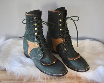 Vintage Lace-Up Leather Hunter Green Boots | US Size 6