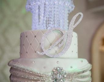 Monogram Swarovski Encrusted Cake Topper