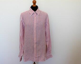 Mens Stripe Linen Shirt  Tommy Hilfiger Red Long Sleeve Mens Shirt  Long Sleeves White Red Linen Shirt Summer Shirt Medium Size