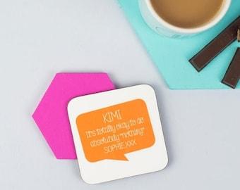 SUMMER SALE Personalised Speech Bubble Positive Message Coaster