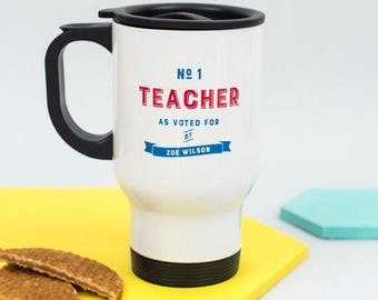 ON SALE Number One Teacher' Travel Mug - Personalised - Gift For Teacher - Fun Gift - Thank you GIft