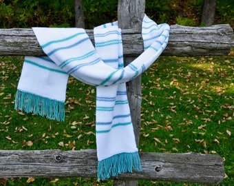White/Teal/Blue Striped Knitted Scarf