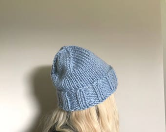 Chunky Knit Beanie, Hand Knit Hat - Powder Blue (Adult Large)