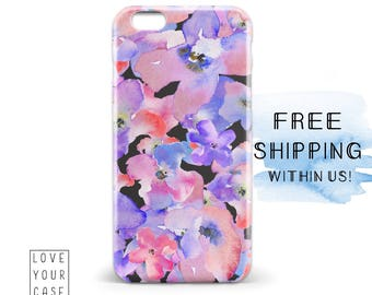 1485 // Pink and Purple Flowers Phone Case iPhone 5/5S, 6/6S, 6+/6S+ Samsung Galaxy S5, S6, S6 Edge Plus, S7