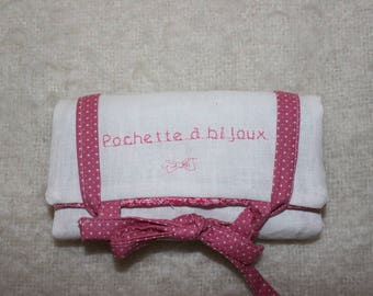 Pink and white fabrics jewelry pouch
