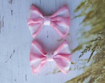 Pink & White Gingham Pigtail Bows ~ Toddler Hair Clips ~ Baby Girl ~ Alligator Clip ~ Clippies ~