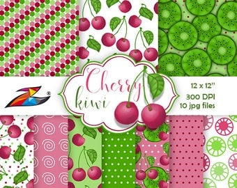 Sale Fruit digital paper Cherry digital paper Red green background Cherry kiwi pattern Polka dots Fruit watercolor background hand drawn