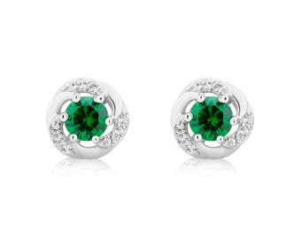 Emerald and White Sapphire Earring in Sterling Silver