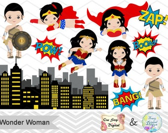 New 2017 Wonder Woman Clip Art, Digital Wonder Woman Clipart, Cute Wonder Woman Clipart, Superheroes Pop Art Text and Bubbles Clip Art 0148