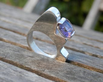 Ring Silver 925 architectural Amethyst faceted square violet, imposing, design, unique, contemporary