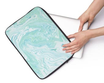 Laptop Sleeve Blue Green Swirl Pattern  - Available in 3 sizes