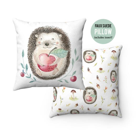 Pillow WITH INSERT - Cute Hedgehog Pillow with Filling - Faux Suede 14x14 Pillow, 16x16 Pillow, 18x18 Pillow, 20x20 Pillow