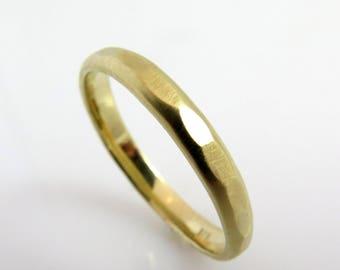 Yellow gold band, Thick wedding band, Wedding ring men, Wedding rings his and hers, Mens wedding band hammered, dainty wedding band