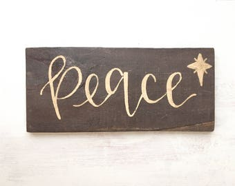"Reclaimed Wood ""Peace"" Sign Christmas Decor"