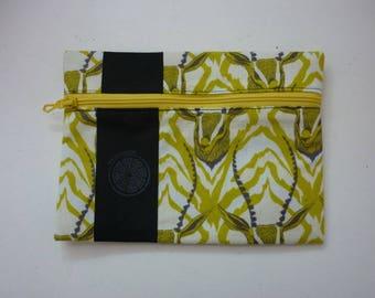 lemon yellow cotton patterned antelopes pouch