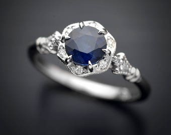 Natural Blue Sapphire Engagement Ring .50ct .75ct 1ct with flower halo in 14kt white, yellow gold or Platinum Certified