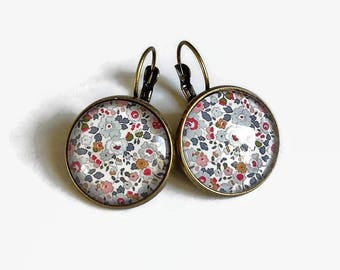 Stud Earrings * liberty betsy * small fabric flowers was floral pink white blue glass cabochon