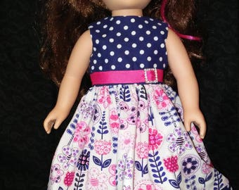 "18"" doll clothes. Doll Dress. Party Dress. Summer Fun. Polka dots and flowers."
