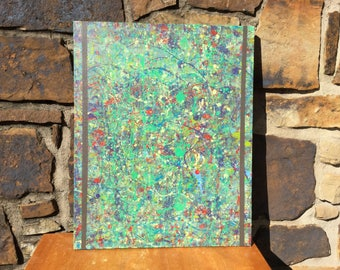 Abstract art splatter painting green multi made in Oklahoma