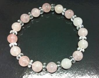Rose Quartz and rock crystal bracelet