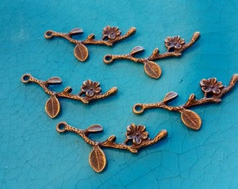 10 flower branch bronze plated charms pendants DIY bracelets earrings necklaces jewellery making charms