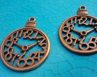 2 clocks watches round antique bronze plated charms cameo cabochon base settings pendants earrings necklaces jewellery Christmas ball charms