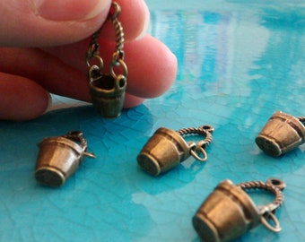 10 3 D old fashioned bucket antique bronze plated charms cameo cabochon pendants earrings necklaces jewellery making charms bulk