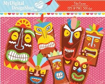 Tiki Faces EPS PNG, Polynesian Party, Colorful wooden image, Hawaiian tropical faces, Tiki bar clip art,Beach party,Colorful indigenous face