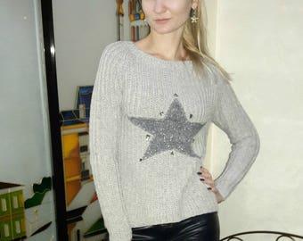 Grey merinos knitted sweater Casual fashion sweater Girls sweater Star sweater