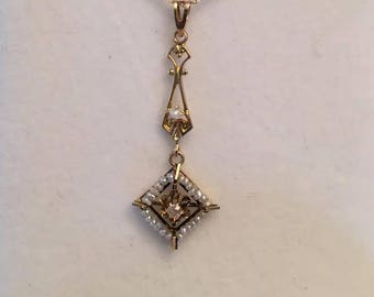 "Antique Art Nouveau 10k yellow gold Drop Lavalier Pendant with Seed Pearls and one Old Mine Diamond .03 ct, 18"" Chain by OB Ostby Barton"