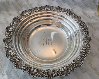 Vintage sterling silver Tiffany & Co Fancy Scallop and Flower Edged Bowl, 511 grams, # 9293 M 4592