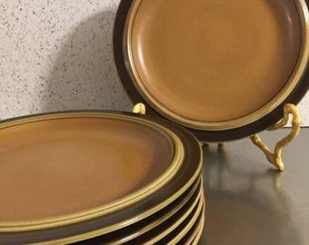 Goebel Country Bretagne Dinner Plates Set 7 Made Bavaria W. Germany | Mid Century Dinnerware | Retro Stoneware | Bee Mark | Replacement