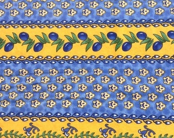 VINTAGE Quintessential FRENCH COUNTRY Tablecloth Blue and Yellow Provence Shabby French Prairie Cottage Chic