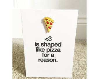 Pizza greetings Card with Enamel Pin