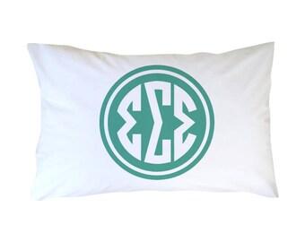 Sigma Sigma Sigma Circle Monogram Pillowcase