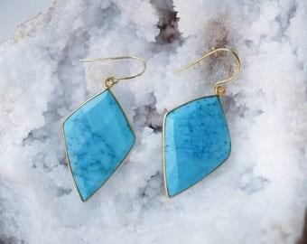 Turquoise diamond earrings, geometric turquoise earrings, big turquoise earrings, light turquoise earrings