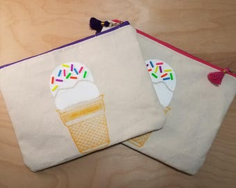 Beaded Ice-cream Print Makeup Bag