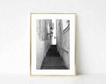 Art Decor Black and White, Prague Print, Europe, Old World Art, Home Decor, Wall Art