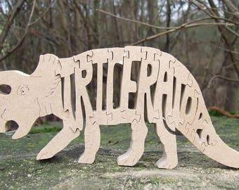 Triceratops dinosaur, Triceratops jigsaw, Triceratops ornament,  dinosaur gift, children's gift,  dinosaur puzzle, Triceratops gift