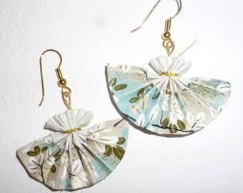 Earrings fans blue and grey dominant Japanese paper origami