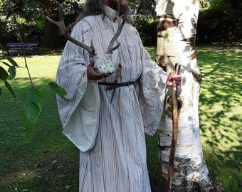 Summer Silver Birch Druid robe,Pagan, Wicca, also LARP LOTR, Elven wear, Mage, Wizard clothing,  free size, full length robe, wide sleeves,