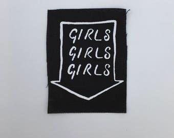 Girls Girls Girls neon sign punk patch